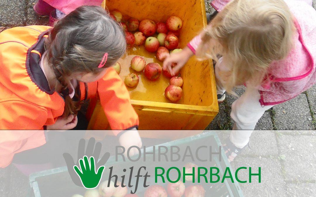 Kindergarten Sternschnuppe sammelt wieder Äpfel für die Apfelpresse. Liebe Rohrbacher…helft mit!