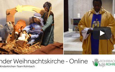Kinderkirche  zu  Heilig  Abend mit Weihnachtsgruss von Abbé André